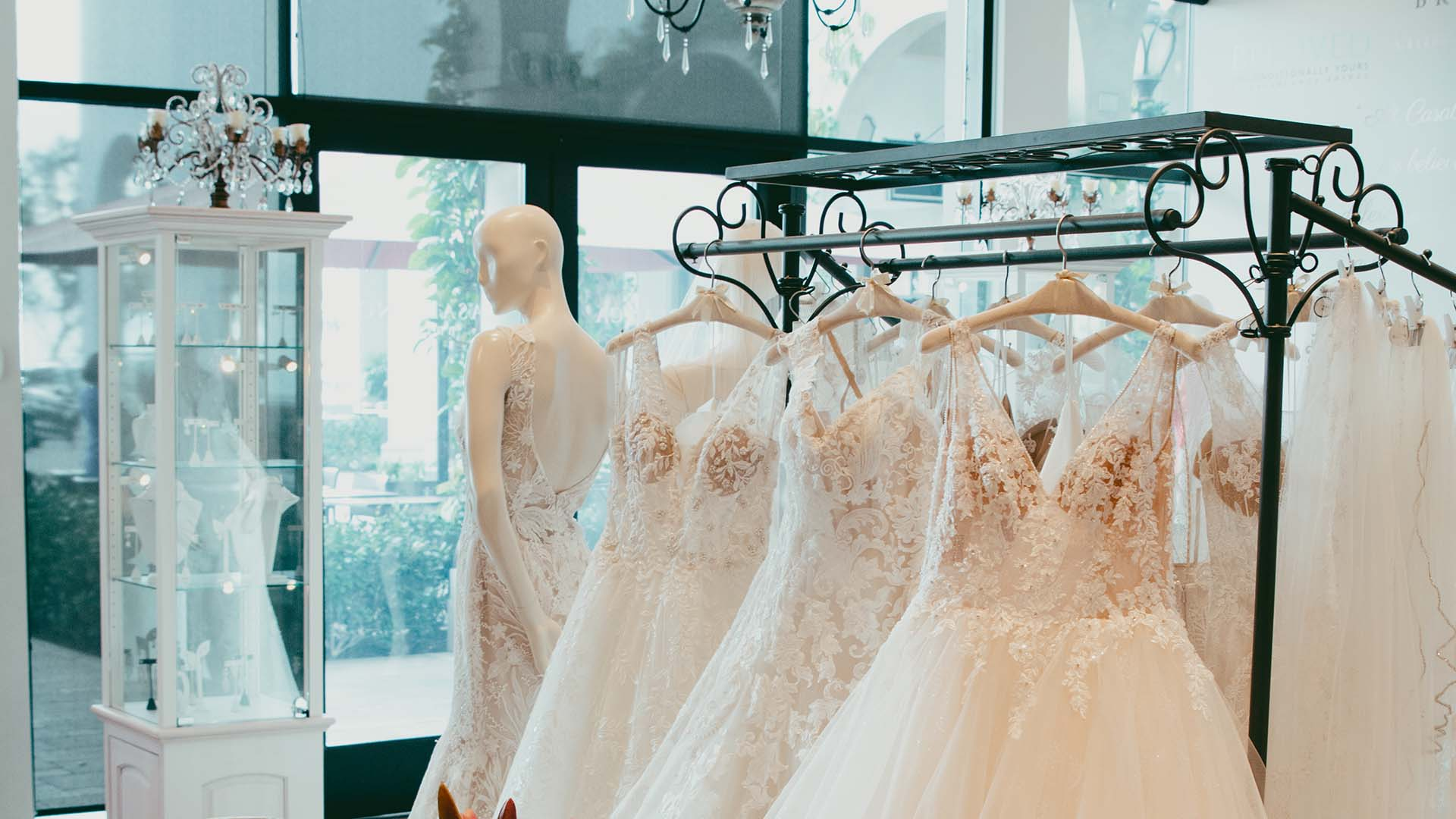 Casablanca Bridal. Wedding dresses at the hanger
