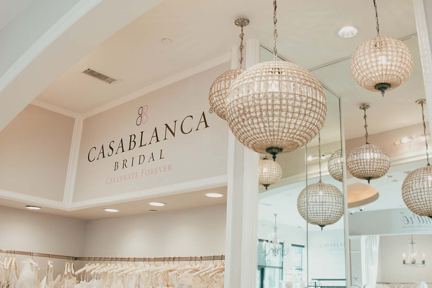 CASABLANCA BRIDAL logo at the store wall